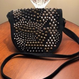 Balmain Suede Mini Punk Rock Studded Crossbody
